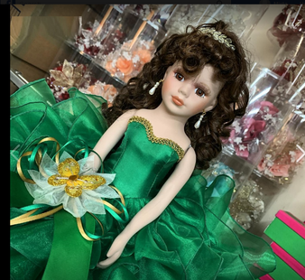 Emerald Green Quinceanera Doll, available in every color