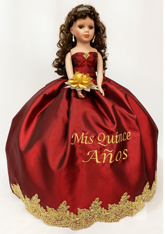 Burgundy Quinceanera Doll,  AK-329D