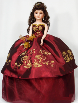 Burgundy Quinceanera Doll, available in every  color