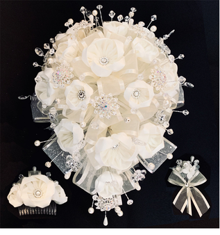 White Quinceanera Flower Bouquet with Headpiece, available in any color