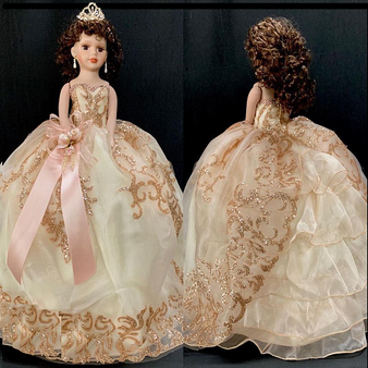 Blush and Gold Quinceanera Doll