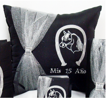 Quinceanera Pillows Set, Kneeling and Tiara quinceanera pillows