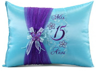 Aqua Blue Quinceanera Pillow Set, Two Pillows