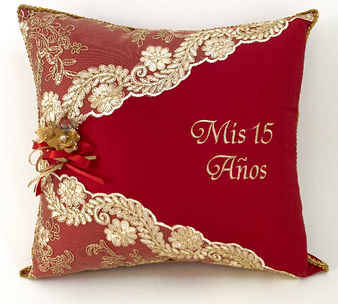 Wine Quinceanera Pillows Set. Two pillows