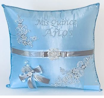 Blue Quinceanera Pillows Set . Two Pillows