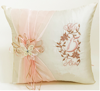 Champagne Blush Quinceanera Pillows Set. Two Pillows