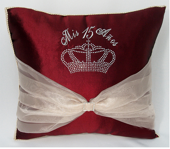 Burgundy Quinceanera Pillows Set. Two Pillows