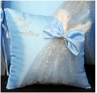Light Blue Quinceanera Pillows Set. Two Pillows