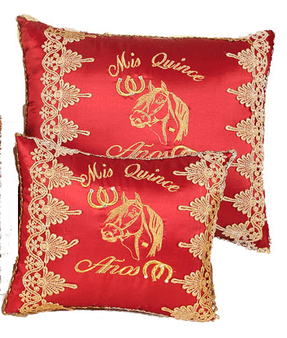 Charra Quinceanera Pillows Set. Two Pillows