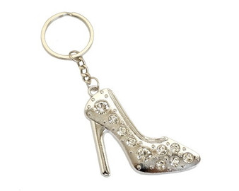 Silver Crystal Rhinestone High Heel Keychain - Pack of 12