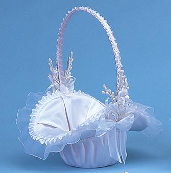 """10"""" White Flower Girl Basket"""