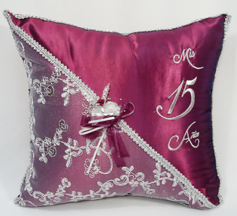 Wine Red Quinceanera Pillows Set. Two Pillows