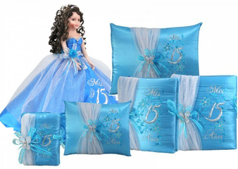Blue Quinceanera Set, 6 items, available in all colors