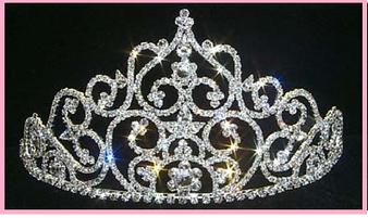 """4.25"""" Silver Crystal Quinceanera Tiara  QT-11439"""