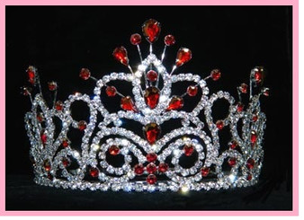 """4"""" Red Quinceanera Crown  QT-16107RR"""