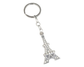 Silver Paris Eiffel Tower Crystal Rhinestone Keychain - Pack of 12