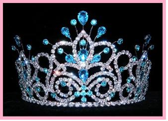 "4""   Blue  Quinceanera Crown QT-16107A"