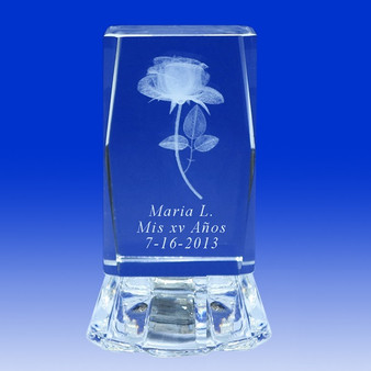 "3"" Lighted Crystal Glass Prism Rose Design Favor, personalized"