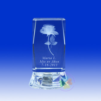 "2.5"" Lighted Crystal Glass Prism Rose Design Favor, personalized"