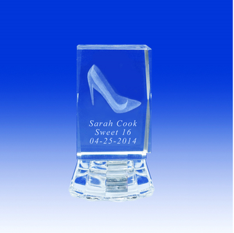 "2.5"" Lighted Crystal Quinceanera Shoe Design Favor, personalized"