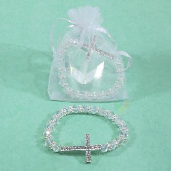 Crystal Beaded Cross Bracelet Favor, Clear