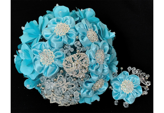 Aqua Flower Bouquet with Headpiece AK-A0027, available in all color