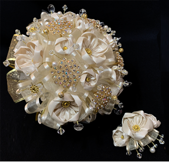 Champagne Quinceanera Bouquet with Headpiece, available in all colors