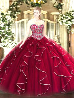 Wine Red Quinceanera Dress QSJQDDT1551002