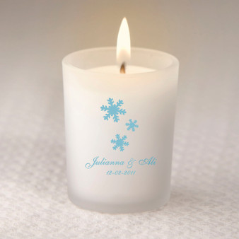 Snowflakes Personalized Frosted Glass Candle Holder (as low as $ 2.15)