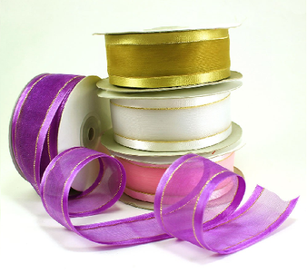 "1.5"" Organza Satin Edge with Gold/Silver Trim  - Pack of 5 Rolls"