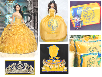Beauty and the Beast Quinceanera Dress Package available in all colors up to 12 Items