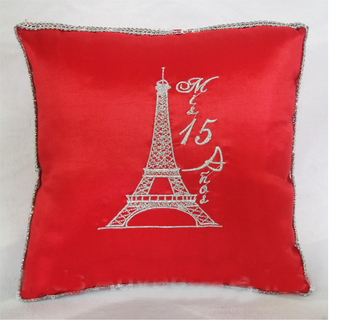 Paris Quinceanera Pillow, kneeling and tiara set available in any color
