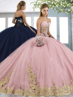 Strapless Pink Quinceanera Dress
