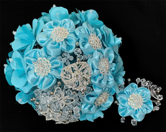Aqua Quinceanera Flower Bouquet with headpiece