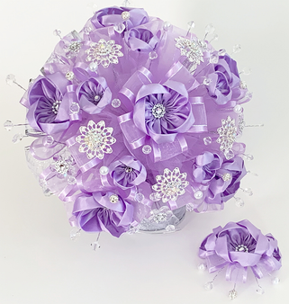 Lilac Quinceanera Flower Bouquet with Headpiece available in all colors