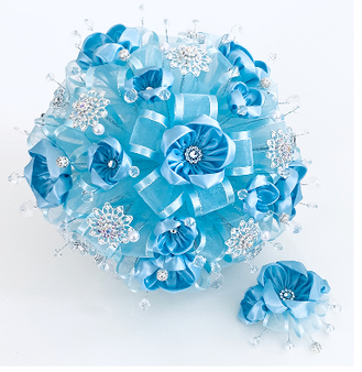 Baby Blue Quinceanera Flower Bouquet and Headpiece, available in all colors