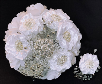 White Rhinestones  Flower Bouquet