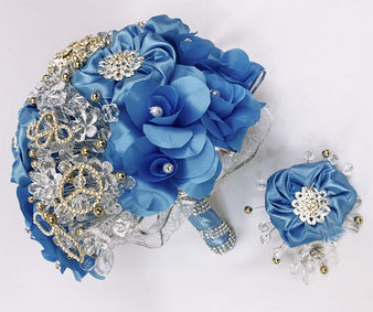 Blue Quinceanera Flower Bouquet with Headpiece