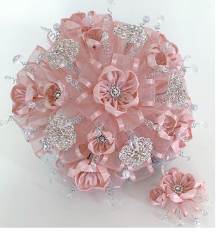 Blush Quinceanera Flower Bouquet and Headpiece