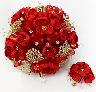 Red Quinceanera Flower Bouquet and Headpiece