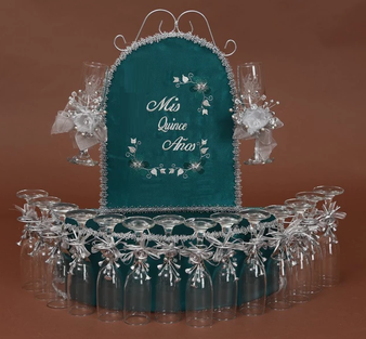 Hunter Green Quinceanera Toasting Set, available in all colors
