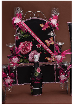 Roses Quinceanera Toasting  Set, available in all colors