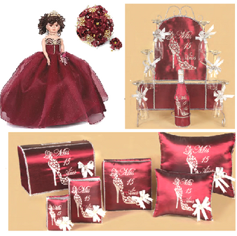 Wine Red Quinceanera Package available in every color