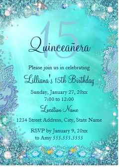 Under the Sea Quinceanera Invitation QS-IN61 set of 50