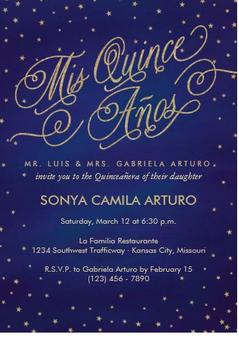 Stars Quinceanera Invitation QS-IN60 set of 50