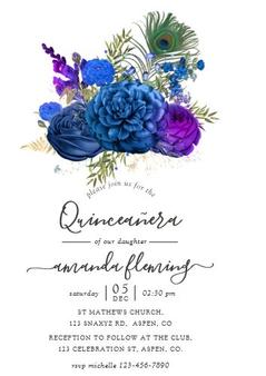 Peacock Quinceanera Invitation QS-IN54 set of 50