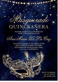 Masquerade Quinceanera Invitation QS-IN32 set of 50