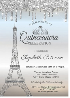 Paris Quinceanera Invitation QS-IN20 set of 50