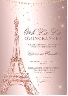 Paris Quinceanera Invitation QS-IN15 set of 50