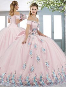 Floral Pink Quinceanera Dress